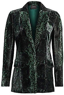 Akris Women's Dayton Python-Print Velvet Jacket