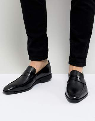 Dune Cross Hatch Loafers In Black Leather