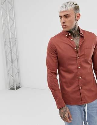 Asos Design DESIGN stretch slim fit denim shirt in brown