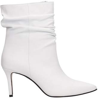 Marc Ellis White Leather Draped Ankle Boots