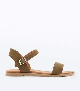 New Look Wide Fit Khaki Suedette Flat Sandals