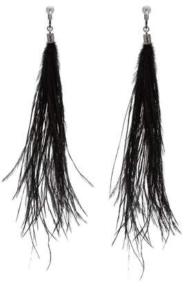 Saint Laurent Long ostrich-feathered earrings