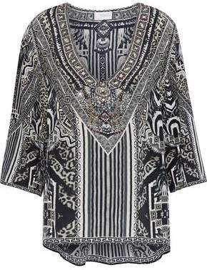 Camilla Tribal Theory Embellished Printed Silk Crepe De Chine Blouse