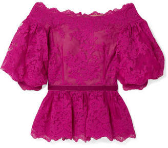 Marchesa Off-the-shoulder Velvet-trimmed Corded Lace Peplum Top - Fuchsia