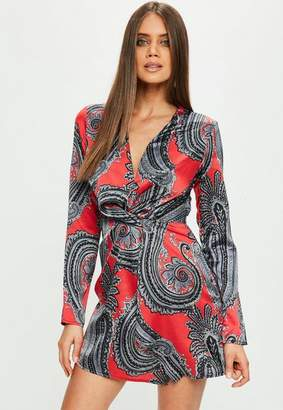 Missguided Red Paisley Silky Plunge Wrap Shift Dress