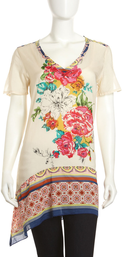 Johnny Was Print-Trim Handkerchief Tunic, Tab
