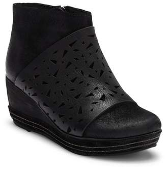 Antelope Lasercut Leather Wedge Bootie