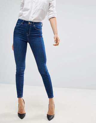 Asos Ridley High Waist Skinny Jeans In Astral Deep Blue
