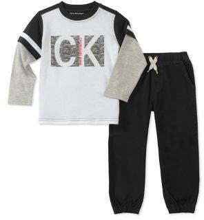 Calvin Klein Jeans Little Boy's Two-Piece Crewneck Top and Jogger Pants Set