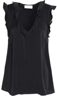 Zimmermann Ruffle-Trimmed Washed-Silk Blouse
