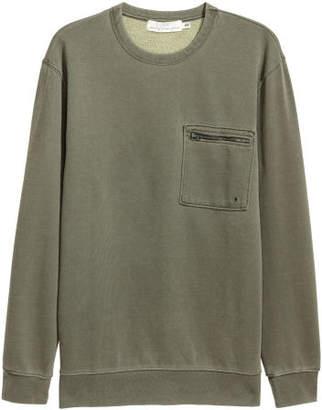 H&M Sweatshirt with Chest Pocket - Green