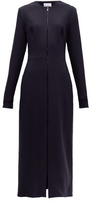 Raey Zip Front Wool Crepe Midi Dress - Womens - Navy