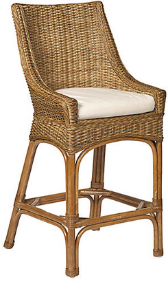 One Kings Lane Brookhaven Wicker Counter Stool - Chestnut