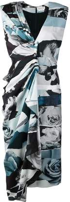 Alexander McQueen panelled rose print fitted dress