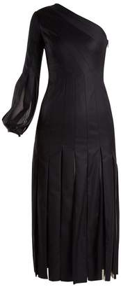 Gabriela Hearst Ruth Pleated One Shoulder Wool Dress - Womens - Dark Navy