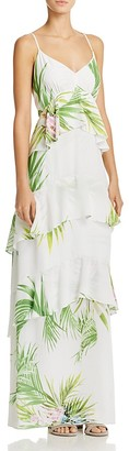 Natori Beaded Palm Print Tiered Maxi Dress $450 thestylecure.com