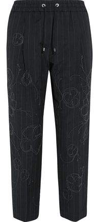 Cropped Embellished Pinstriped Wool And Linen-Blend Straight-Leg Pants