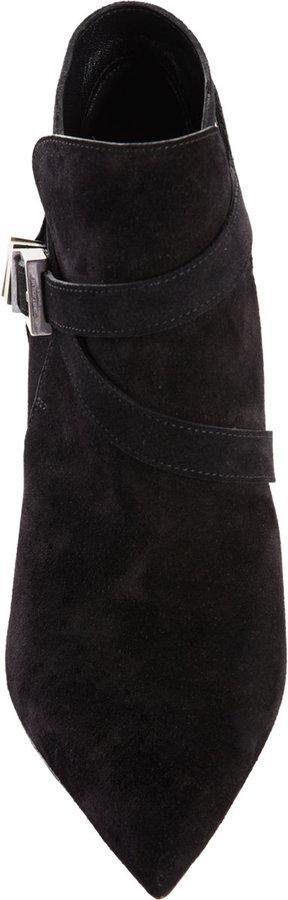 Saint Laurent Paris Strap Detail Ankle Boots 80