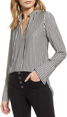 Treasure & Bond Stripe Ruffle Neck Shirt