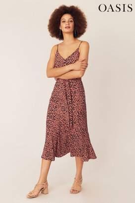 Oasis Womens Orange Leopard Print Midi Dress - Orange