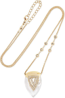 Jacquie Aiche 14-karat Gold, Quartz Crystal And Diamond Necklace