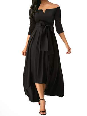 Aiphun Women 3/4 Sleeve Off Shoulder Homecoming Evening Party High Low Maxi Dress L