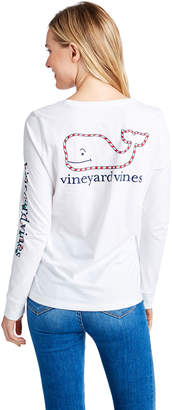 Vineyard Vines Long-Sleeve Candy Cane Whale Pocket Tee