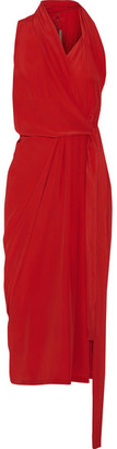 Rick Owens - Crepe De Chine Wrap Midi Dress - Red $1,030 thestylecure.com