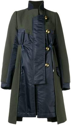 Sacai contrast panel coat