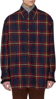 Calvin Klein Faux shearling lined tartan plaid flannel shirt jacket