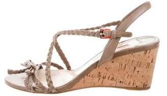 Prada Sport Leather Braided Wedge Sandal