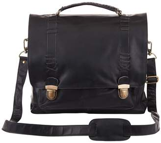MAHI Leather - Leather Classic Satchel Messenger Bag In Ebony Black