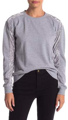 Romeo & Juliet Couture Velvet Trim Crew Neck Sweater