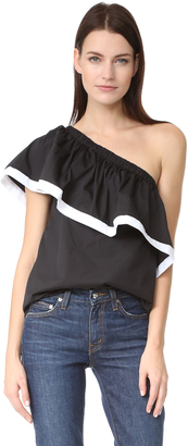 Milly Poplin One Shoulder Top $250 thestylecure.com