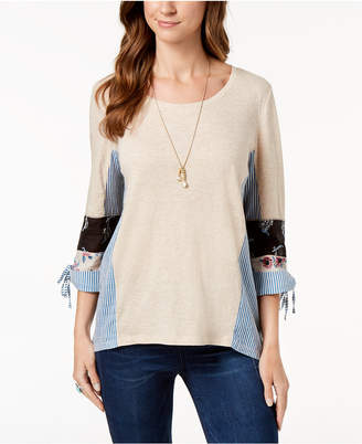 Style&Co. Style & Co 3/4-Sleeve Patchwork Top, Created for Macy's