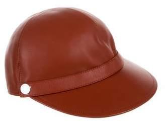 Hermes Leather Newsboy Cap