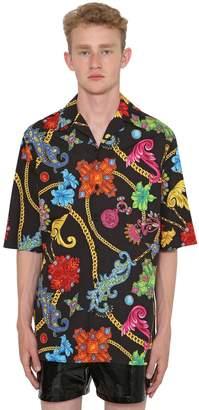 Versace Jewerly Printed Cotton Bowling Shirt