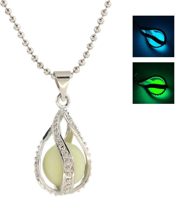 Halskette mit fluoreszierender Kunststoffperle