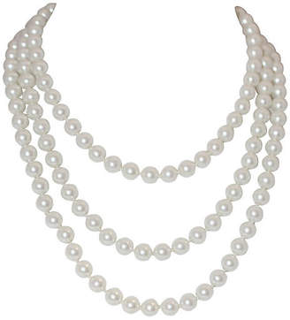 One Kings Lane Vintage Long Glass Faux-Pearls Necklace - Little Treasures