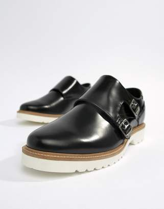 Ben Sherman Monk Shoes In Black High Shine