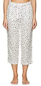Castle & Hammock Women's Dot-Print Cotton Drawstring-Waist Pants - White & Blue Dot