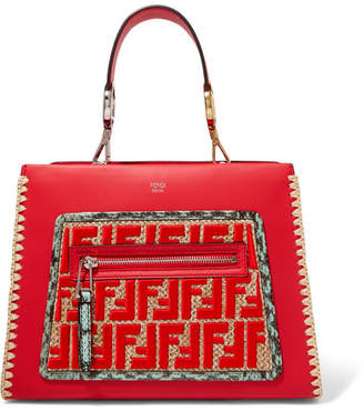 Fendi Runaway Small Watersnake And Raffia-trimmed Leather Tote