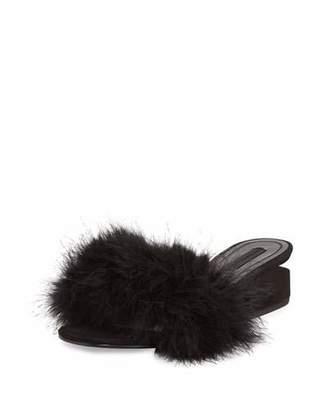 Alexander Wang Lou Marabou Feather Sandal, Black $495 thestylecure.com