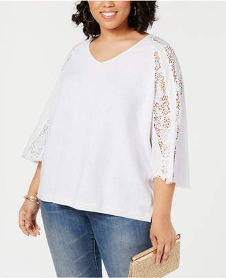INC International Concepts I.n.c. Plus Size Lace-Sleeve Sweater