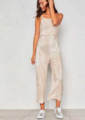 face654aba40 Missy Empire Missyempire Nellie Champagne Foil Pleated Open Back Jumpsuit