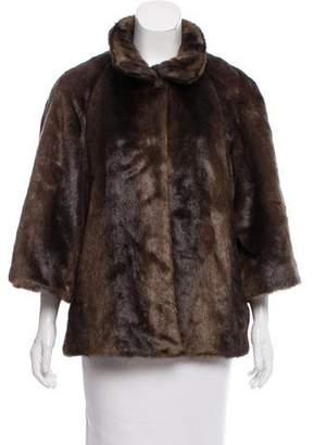 T Tahari Faux Fur Long Sleeve Jacket