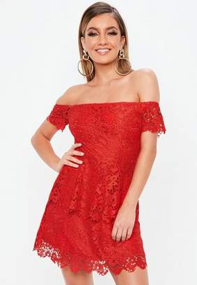 Missguided Red Lace Bardot Double Layer Skater Dress