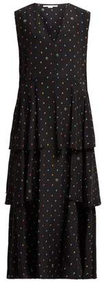 Stella McCartney Dot Print Tiered Silk Dress - Womens - Navy Multi