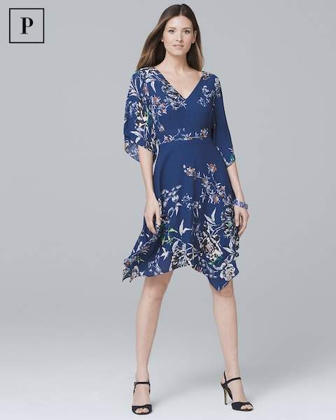 Whbm Petite V-Neck Soft Fit-and-Flare Dress