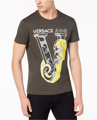 Versace Men's Leopard Logo-Print T-Shirt